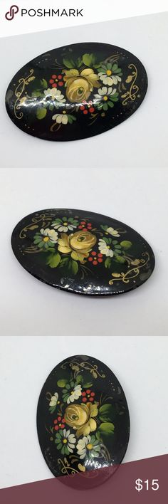 """🆕Vintage Russian Hand-Painted Lacquered Brooch A Russian vintage pin with a painted floral design in Fall colors. Lacquered to protect the painting for a shiny finish. With a simple catch on the reverse; this further reveals its age! In very good vintage condition. About 1 1/2"""" long and 1"""" wide. Vintage Jewelry Brooches"""