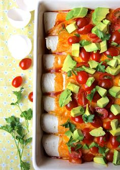 Breakfast Enchiladas.  Colorful, creative breakfast that can be scaled to feed any size family.  #enchiladas #breakfast