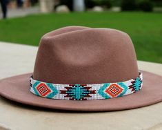 Cowboy Hat Bands, Cowboy Hats, Western Hats, Western Style, Cowboy Western, Western Decor, Beaded Hat Bands, Navajo Pattern, Beaded Dog Collar