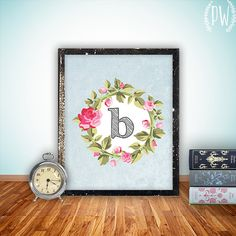 Monogram Nursery Letter Art Print Girl Wall by PrintableWisdom