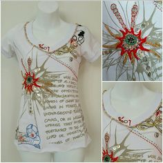 """SALE""""We're Original"""" Urban tshirt NWT 5 stars🌟 ***Last one*** Brand new with tags This urban t-shirt boosts of details: Shell-like beads,  threaded detailed, beads, playful embroidered figures and writing!  100% cotton  Unfinished hem Approx 23"""" Bust seam to seam approx 15'' Multi colored   *similar to anthro styles Tops Tees - Short Sleeve"""