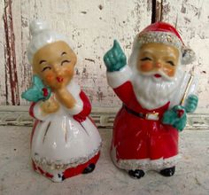 Vintage Mr and Mrs Santa Claus salt and pepper shakers ceramic