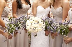 Cream rose and lavender bouquets | photography by http://stephanieasmith.com/