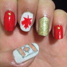 Canadian flag, nail art, nail design, maple leaf nail art design, #makeupbysehar