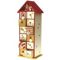 Tall Wood Double Sided Advent Calendar House