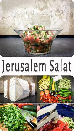 Jerusalem Salat - Das ist hier ist ein Salat den ich sehr liebe und der sofort süchtig macht. Der Trick beim Jerusalem Salat ist es das Gemüse super, mini, klein zu schneiden, in Kombination mit den drei frischen Kräutern.