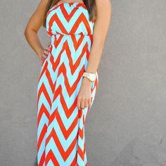 Aqua and Orange Chevron Maxi Dress Tube top aqua and orange maxi dress. Elastic…