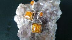 Amber Silver Stud Drop Earrings