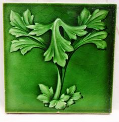 Details about VINTAGE CERAMIC TILE OLD ART NOUVEAU TILE EMBOSSED CERAMIC ENGLISH…
