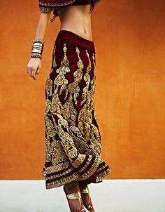 Monisha Jaising Vogue Velvet Lengha with gold embroidery