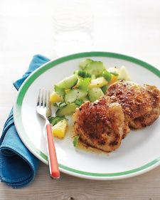 Super simple, yet fresh and delicious! Broiled Chicken Thighs with Pineapple-Cucumber Salad
