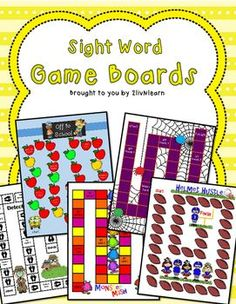 Sight Word Board Games (SET 2) Learn sight words fast and have fun too with these Sight Word Board Games. This set includes 5 Game Boards (Off to School, Monster Mash, The Creepy Crawl, Helmet Hustle and Detective Dash), and 329 Sight Word Cards (including days of the week, months of the year, and number words 1-15). Sight Word Activities, Literacy Activities, Literacy Centers, Teaching Resources, Kindergarten Games, School Resources, Classroom Resources, Teaching Ideas, Education And Literacy
