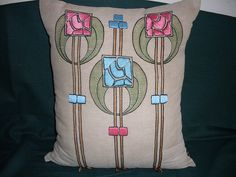 Arts & Crafts linen pillow by ARTANTIQ, via Flickr