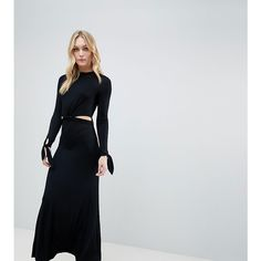ASOS DESIGN Tall maxi dress with long sleeve and cut outs (€41) ❤ liked on Polyvore featuring dresses, gowns, black, petite, long sleeve gowns, long sleeve evening gowns, evening long sleeve maxi dresses, evening maxi dresses and long sleeve maxi gown
