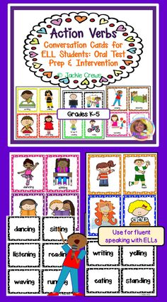This verb product has 84 cards teachers can use for literacy centers, intervention, or their ELL small groups. The verbs are in the present progressive tense (base word + ing). I created this so that my students would become comfortable with using verbs with ing instead of just the present tense. This would be quite helpful for kinders, first graders, your small ELL newcomer or beginner groups. I find that when kids can verbalize their thoughts, that their writing begins to improve. Ell Students, Conversation Cards, Action Verbs, Reading Activities, Language Activities, Teacher Resources, Teaching Ideas, Test Prep, Kids Learning