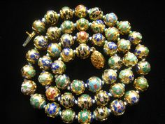 Vtg  Chinese Cloisonne Bead Necklace has 50 Beads by JewelryCapers