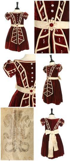 """Child's dress, 1863, of burgundy velvet with ivory satin piping, mother of pearl buttons, and taffeta waist sash, the tails printed with the Prince of Wales plumes, """"Ich Dien"""" and """"Albert and Alexandra."""" The Prince of Wales, Albert Edward, married Danish Princess Alexandra on March 10, 1863 at St George's Chapel, Windsor. Presumably this dress was made to wear at a party to celebrate the royal wedding. Via Kerry Taylor Auctions."""