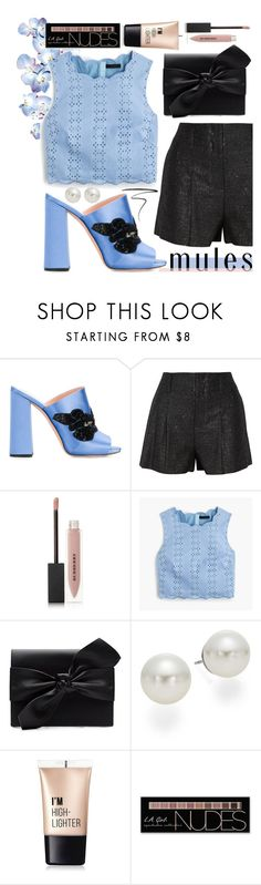 """""""Mules"""" by callyfordham ❤ liked on Polyvore featuring Rochas, Alice + Olivia, Burberry, J.Crew, Witchery, AK Anne Klein, Charlotte Russe and Eyeko"""