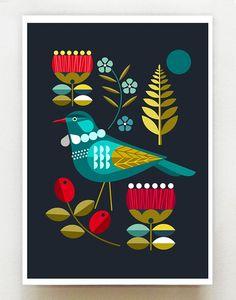 Our beautiful Tui among Pohutakawa flowers There are 3 size options: 21 x cm ~ x inches x 42 cm ~ x inches 42 x cm ~ x inches This is the paper size, there is a slim white border around the print so the print is slightly smaller. Geometric Bird, New Zealand Art, Madhubani Art, Pattern Illustration, Graphic Design Art, Stone Art, Bird Art, Fabric Art, Mosaic Art