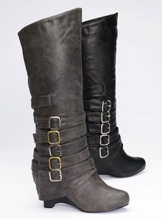 Multi-Buckle Boots. Why do heels attract me so and I never wear them because they make me over 6 ft tall? Fml