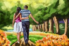 "Painting of a couple in the park. I did this one twice, two different styles. enjoy!  <a href=""http://fineartamerica.com/art/paintings/trees/all"" style=""font: 10pt arial; text-decoration: underline;"">trees paintings for sale</a>"