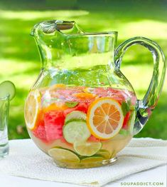 Refreshing, nourishing fruit and herb infused water - great for hydrating on hot summer days! Healthy and fresh, this icy cold summer beverage has no added sugar or preservatives. Recipe at SoupAddict.com #vitaminwater #healthy #infusedwater #fruitinfusedwater