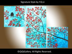 """Birds Art 36"""" Abstrac Acrylic Painting Impasto Love Birds Painting """"Splendid Spring"""" by qiqigallery"""