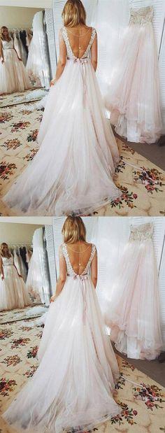 7700ebe1777f Open Back Sweetheart A Line Empire Waist Wedding Dresses Bride Gown  #weddingdress #wedding #