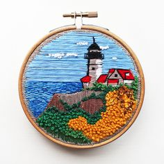 Lighthouse Embroidery. Lighthouse Hoop Wall Art. Seascape embroidery. Sea coastal wall art. Sea coastal hoop art. Sea embroidery wall decor.  Framed in a 4 inches/ 10 cm embroidery hoop.  Can be hung easily on the wall, small easel or propped up on a shelf.  Packaged with care.  This unique embroidery is made by artist Yana Antonova.  This beautiful colorful hoop decor will look perfect on your wall and will become a sweet gift.  Thank you for visiting us!  Embroidery: https://...