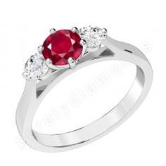 PDR202W - 18ct white gold ring with a claw set central round ruby and a round brilliant cut  diamonds on either side.