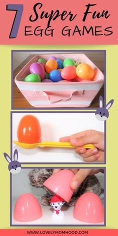 Here are 7 super Fun Easter egg games to play with the whole family. Dont spend the Easter with a bunch of rowdy kids and a million Easter eggs lying all over the place. put them to good use and try these 7 Easter games. Easter Activities For Kids, Easter With Kids, Fun Easter Ideas, Easter Egg Hunt Ideas, Easter Egg Hunt Games, Easter Puzzles, Egg Game, Box Container, Plastic Easter Eggs
