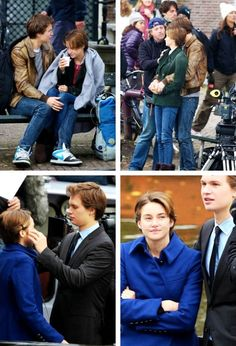 Ansel Elgort & Shailene Woodley filming in Amsterdam. The top right photo! Ah I love it!!