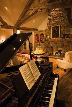 .Baby grand and stone fireplace - beautiful!