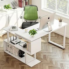 Tribesigns Modern L-Shaped Desk, 55 inch Rotating Desk Corner Computer Desk Study Writing Table with 2 Tier Storage Shelves for Home Office Use, White Computer Desk With Shelves, Bookshelf Desk, Office Computer Desk, Office Workspace, Gaming Computer, Modern L Shaped Desk, Ikea L Shaped Desk, Small L Shaped Desk, Hack Ikea