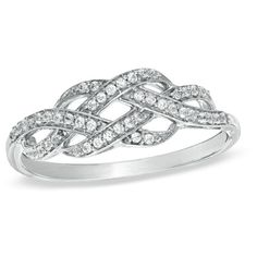 1/5+CT.+T.W.+Diamond+Infinity+Knot+Ring+in+Sterling+Silver