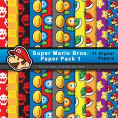 Super Mario Brothers Digital Paper Pack for Parties and Digital Scrapbooking Super Mario Party, Super Mario Bros, Super Mario Birthday, Mario Birthday Party, Digital Scrapbook Paper, Digital Paper Free, Digital Papers, Packs Papier, Paper Toy