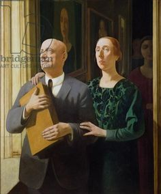 Double Portrait, 1924 (tempera on panel), Felice casorati, galleria d'arte narciso, Italy
