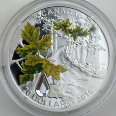 2016 $20 Bigleaf Maple Swarovski Crystal Raindrop 99.99% Pure Silver Color Proof Custom Coins, Canadian Coins, World Coins, Money Matters, Coin Collecting, Silver Coins, Swarovski Crystals, Stamps, Mint