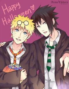 Halloween pic of sasuke n naruto dressed as harry and draco - by arisachibara Sasunaru, Naruhina, Hinata, Naruto Shippuden Sasuke, Narusasu, Anime Halloween, Happy Halloween, Gaara, Manhwa