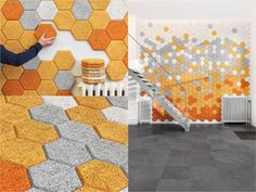 Keep it Down: Ten Creative Acoustic Screens - Vibrant and colourful, these hexagon wall tiles have been made from sustainable wood fibres mixed with cement and water. They have a high sound absorbency capabilities and function well in small or medium sized spaces.