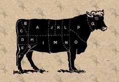 Vintage image Butchering a beef picture Instant Download Digital printable clipart graphic - stickers, burlap, prints, iron on etc HQ 300dpi by UnoPrint on Etsy