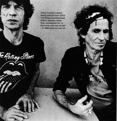 The Rolling Stones: Mick Jagger & Keith Richards - Anton Corbijn Los Rolling Stones, Like A Rolling Stone, Rollin Stones, Musician Photography, Charlie Watts, Photo Portrait, Photo Art, Rockn Roll, Keith Richards