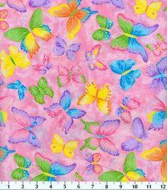 Novelty Cotton Fabric-Butterfly Glitter Pink at Joann.com