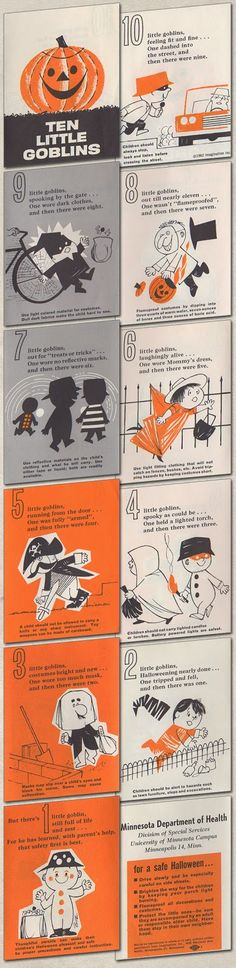 10 Little Goblins - Costume Safety Pamphlet from the Minnesota Department of Health, 1962.