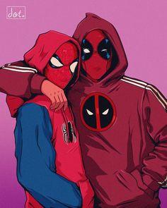 My last fanart for Cute Deadpool, Deadpool Y Spiderman, Spiderman Art, Amazing Spiderman, Marvel Avengers, Marvel Comics, Spiderman Hoodie, Deadpool Fan Art, Deadpool Kawaii