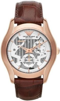 Emporio Armani Meccanico Automatic Silver Dial Rose Gold Tone Stainless Steel Case Leather Watch #AR4675 (Men Watch)