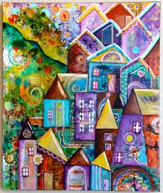 Funky Houses Original Mixed Media Art Original Acrylic Painting on 20 x 24 Gallery Wrapped Canvas