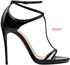 Benedetta strappy t-strap sandal in black patent leather with a small platform and 120mm heel; spotted on on  Kate Beckinsale