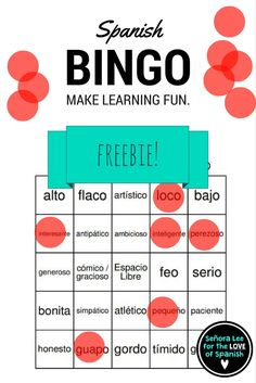 Free for a limited time! 40 bingo cards to practice 24 Spanish descriptive adjectives (used with ser). Aligns with Buen Viaje 1 Chapter 1 and can be used with any curriculum. Students will LOVE this! Great for reinforcing vocabulary throughout the lesson, test review or substitute plans.