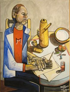 Selbstportrait - Beim malen. Gouache, Unikat. gemalt und signiert von Heinz Schmitz